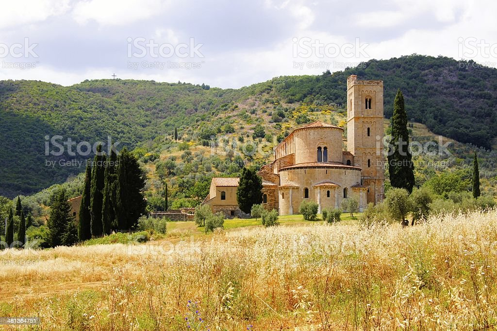 Tuscan countryside with abbey stock photo