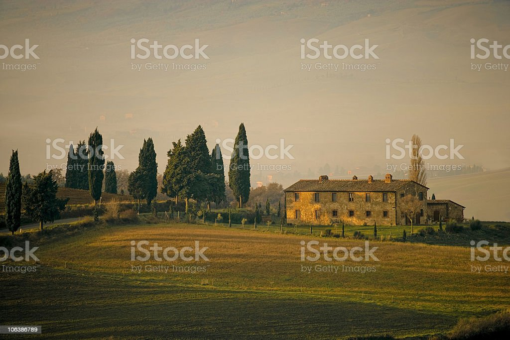 Tuscan Farmhouse at sunset royalty-free stock photo