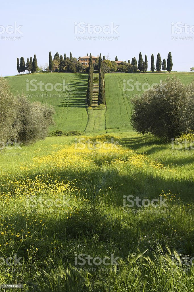 Tuscan landscape and mansion stock photo
