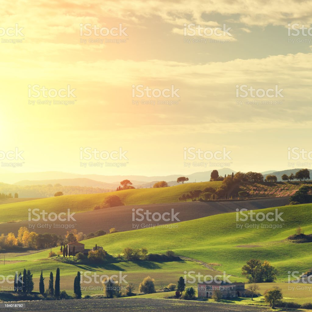Tuscan landscape at sunset. stock photo