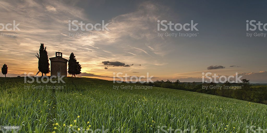 Tuscan Landscape with Little Chapel of Vitaleta royalty-free stock photo
