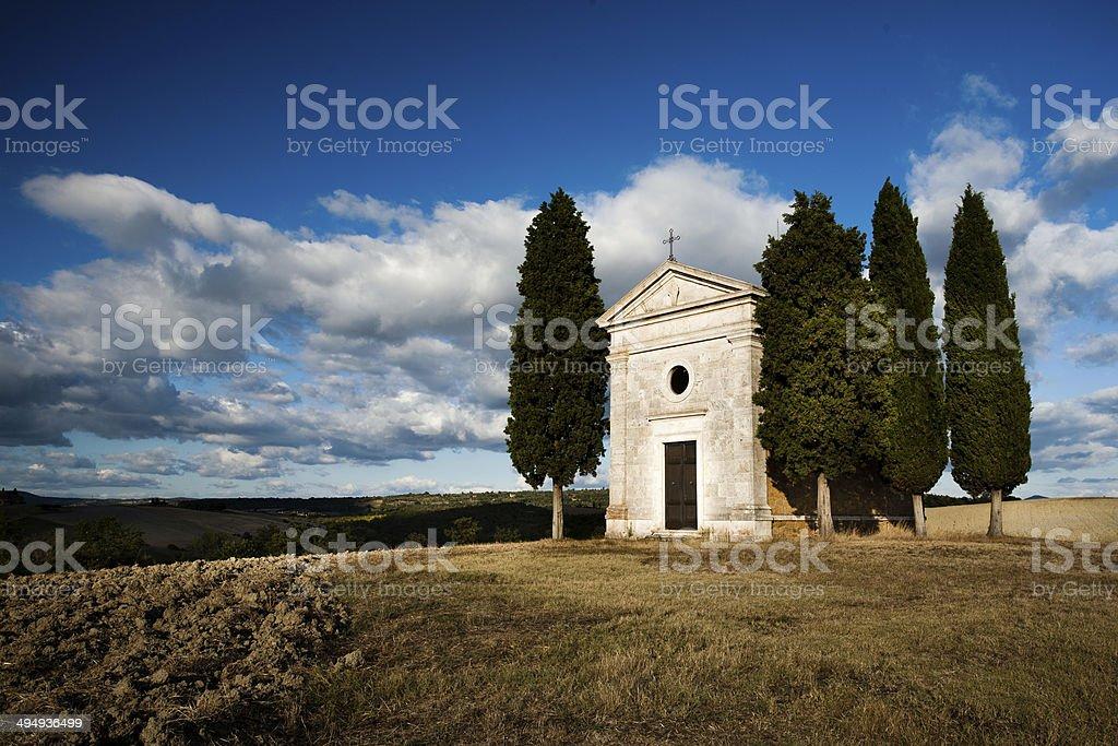 Tuscan Landscape with Little Chapel of Vitaleta stock photo