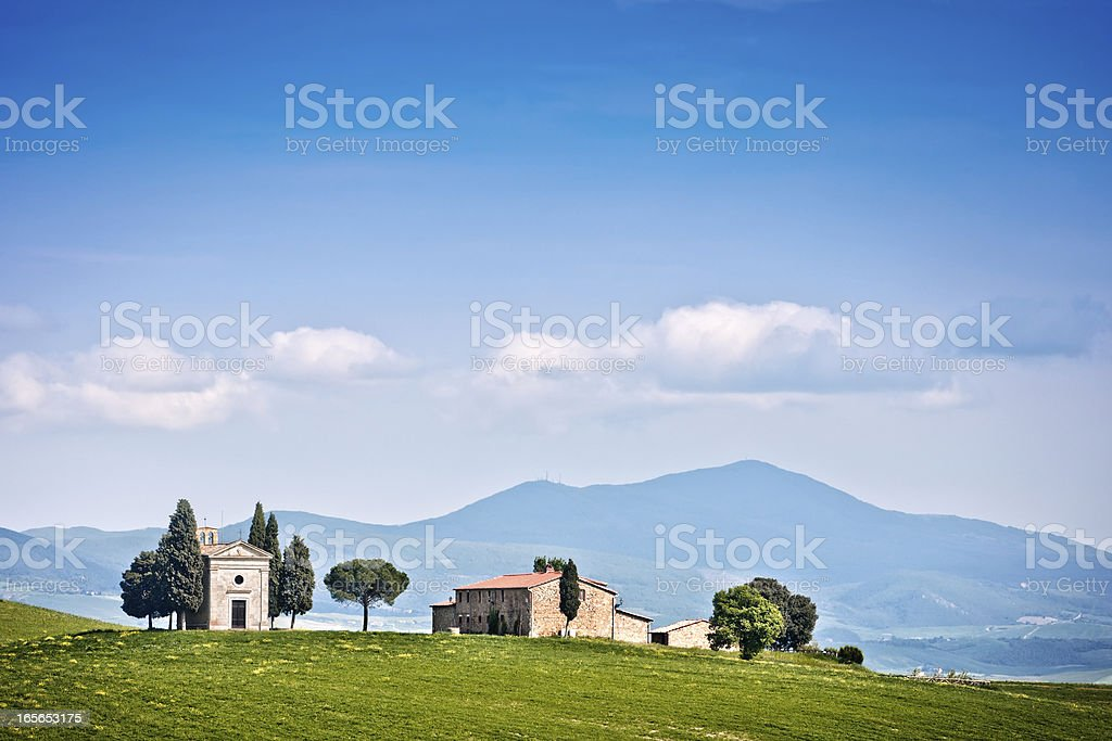 Tuscan Landscape with Little Chapel of Vitaleta, Val d'Orcia royalty-free stock photo