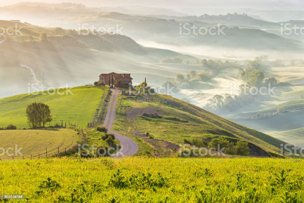 Tuscan landscape with morning fog in the valley stock photo