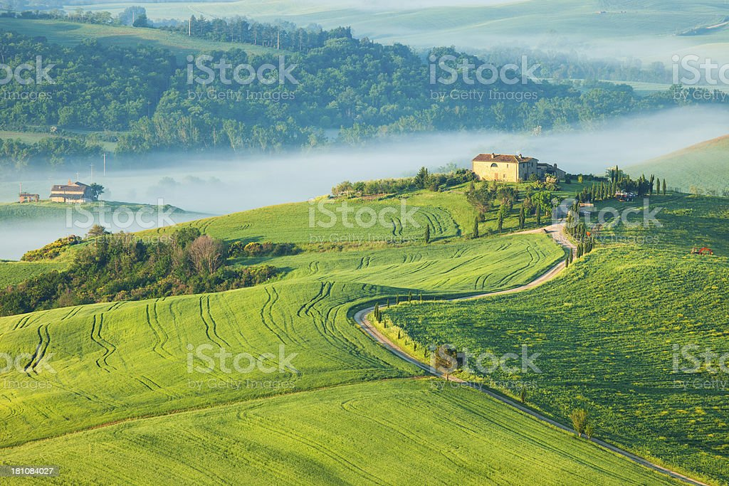 Tuscan Landscape With Winding Country Road and Morning Fog royalty-free stock photo