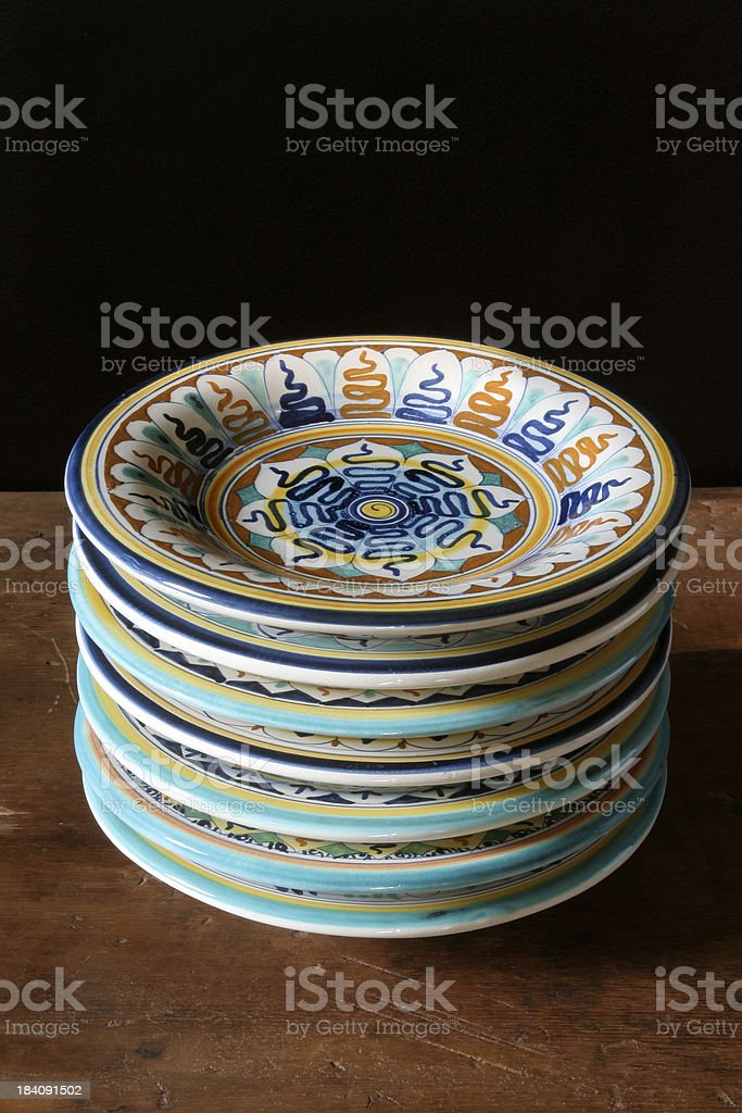 Tuscan Plates Stacked royalty-free stock photo