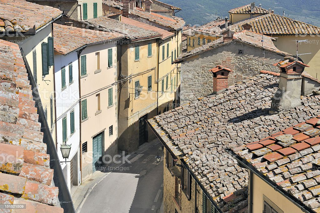 Tuscan rooftops stock photo