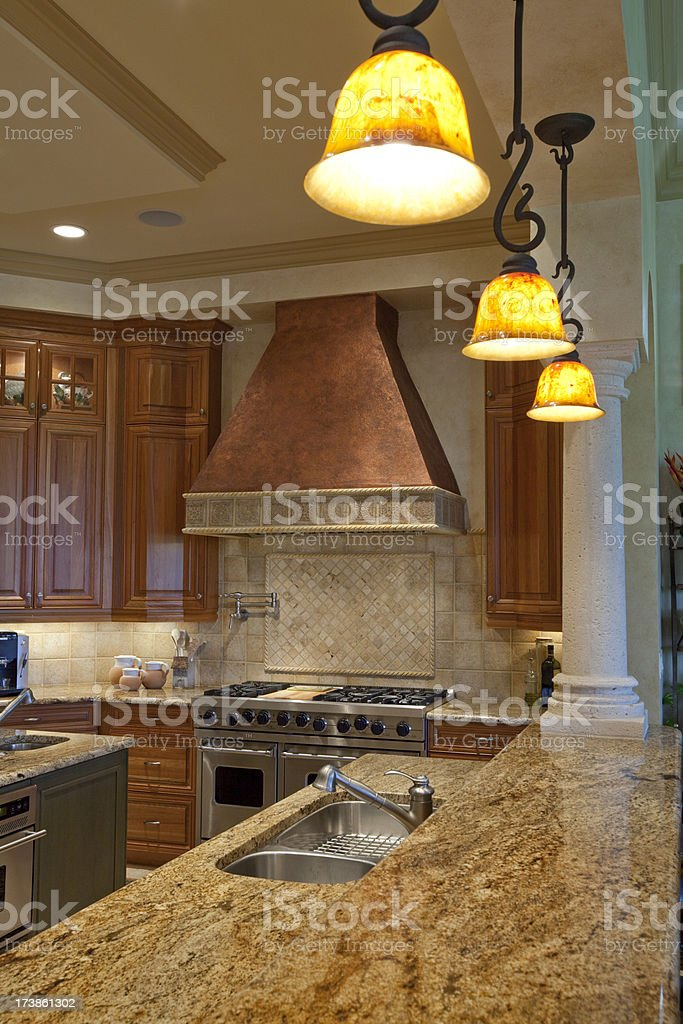 Tuscan Style Kitchen with Granite and Copper Wide Angle royalty-free stock photo