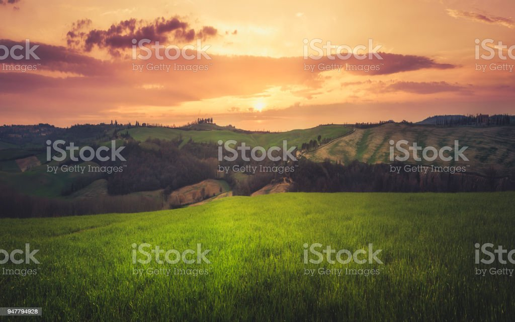 Tuscan sunset, Val D'orcia, Siena, Tuscany, Italy stock photo