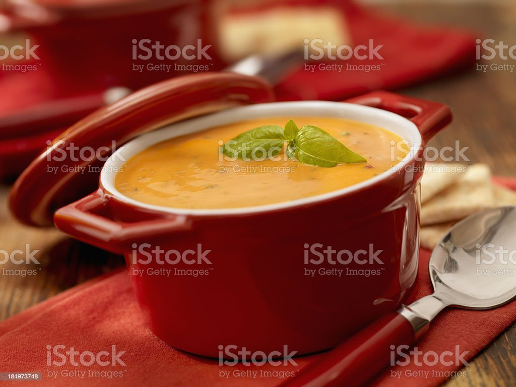 Tuscan Tomato and Basil Bisque stock photo