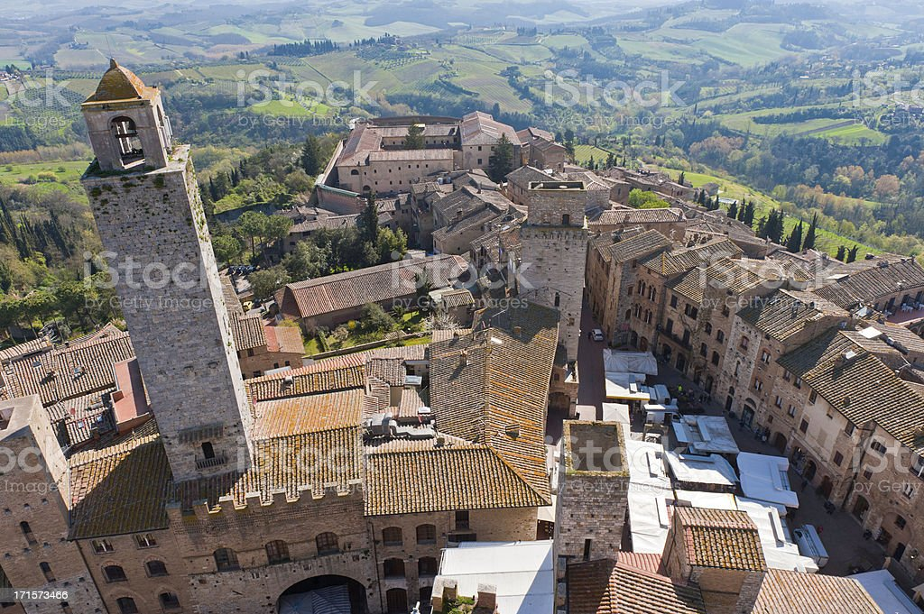 Tuscany aerial view over hilltop town towers San Gimignano Italy stock photo
