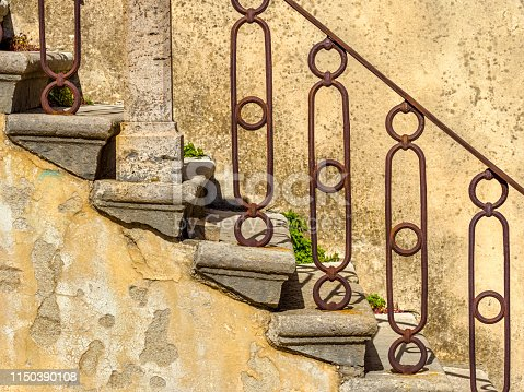 Stone steps in the Town of Manciano in Tuscan countryside of Italy