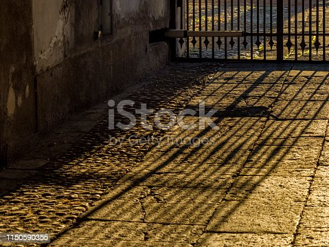 Iron gate in the Town of Valentano in Tuscan countryside of Italy
