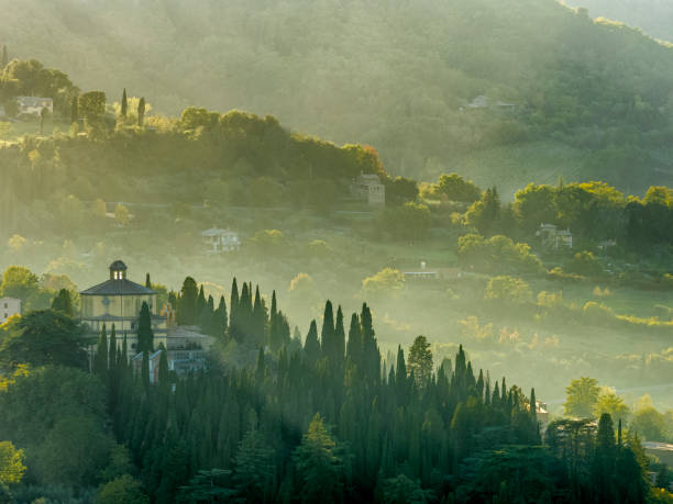 Tuscany and Umbria region of Italy Early morning light on the Umbrian countryside near the town of Orvieto in Italy umbria stock pictures, royalty-free photos & images
