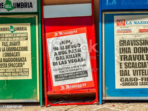 Umbrian region in Italy on October 03, 2017: Newspaper dispensers in the Town of Trevi in the Umbrian countryside of Italy