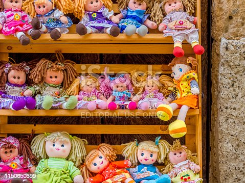 Tuscan region in Italy on October 09, 2017: 2017: Doll shop display in the town of Pitigliano in Tuscany, Italy