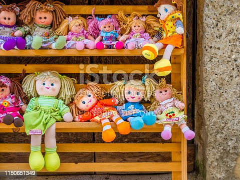 Tuscan region in Italy on October 09, 2017: Doll shop display in the town of Pitigliano in Tuscany, Italy