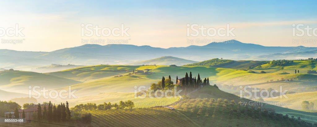 Tuscany at spring morning stock photo