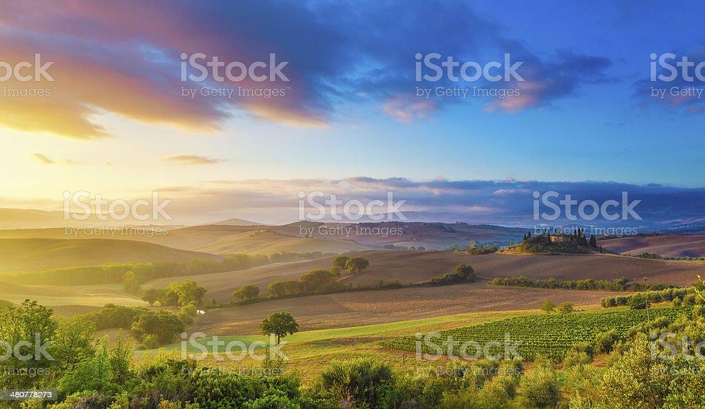 Tuscany at sunrise stock photo