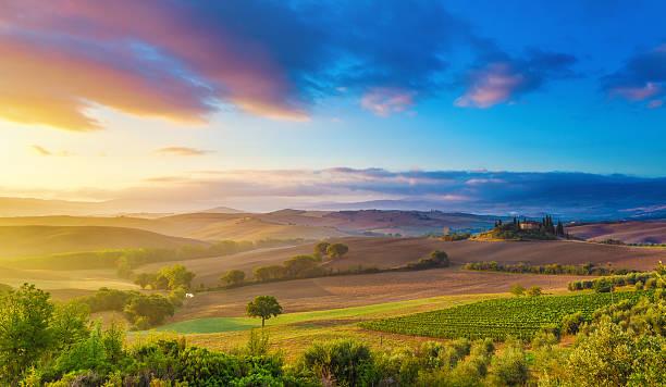 tuscany bei sonnenaufgang - ferienhaus toskana stock-fotos und bilder
