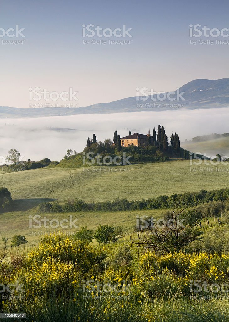 Tuscany belvedere early morning royalty-free stock photo