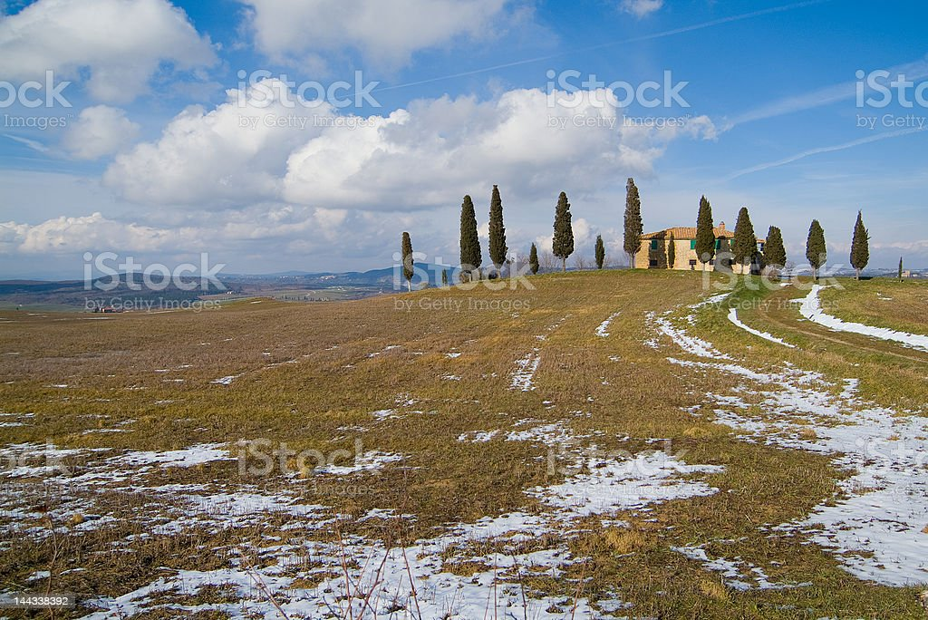 Tuscany, cottage in winter landscape royalty-free stock photo