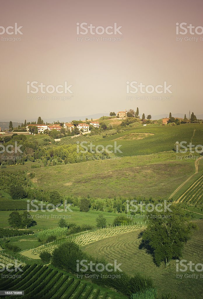 tuscany countryside with cultivated land royalty-free stock photo