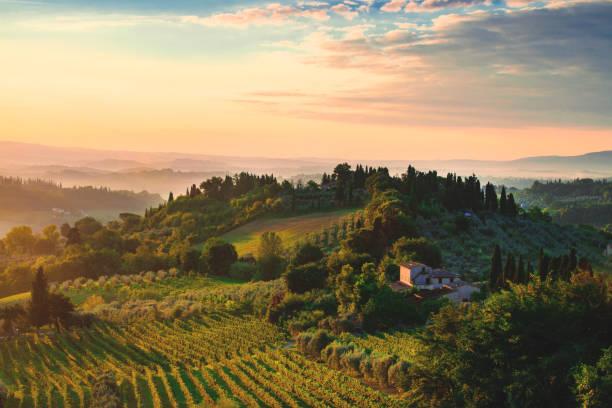tuscany dawn - italie stockfoto's en -beelden