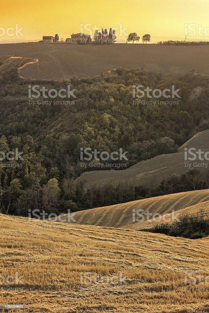 Tuscany Farm on Top of Hill stock photo