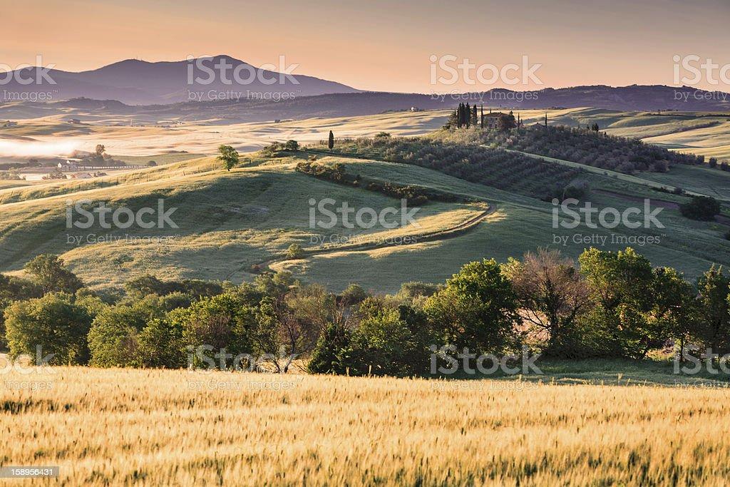 Tuscany Farmhouse in the morning royalty-free stock photo