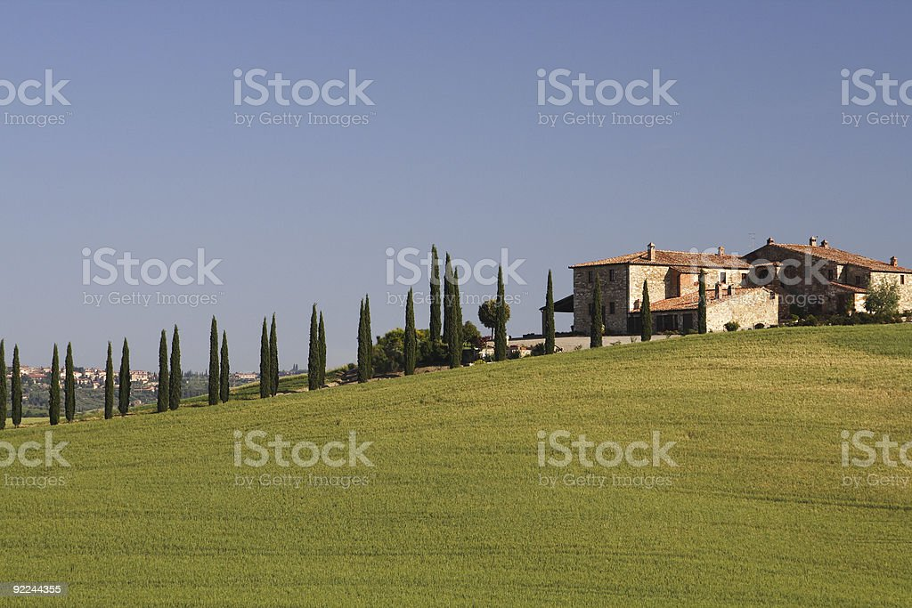 Tuscany Grange with Cypress Trees royalty-free stock photo