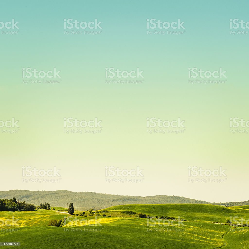 Tuscany grass field with clouds royalty-free stock photo