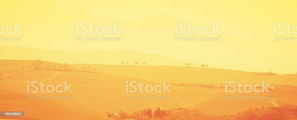 Tuscany hills at sunset royalty-free stock photo