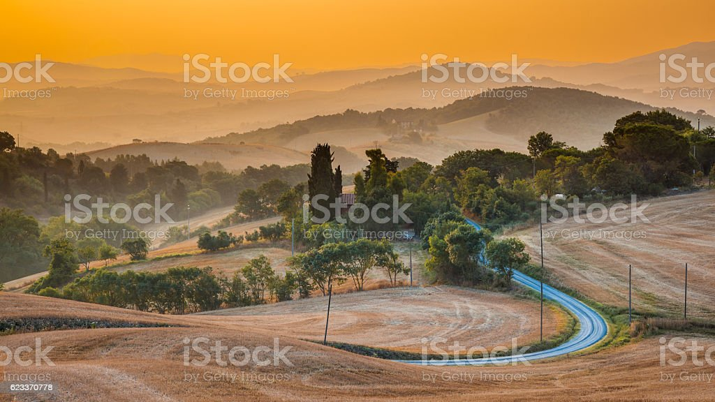 Tuscany hills panorama view stock photo