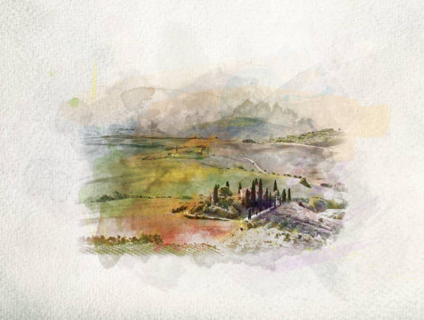Tuscany landscape at sunrise in watercolors. Tuscany landscape at sunrise in watercolor painting. Typical for the region tuscan farm house, hills, vineyard. Italy. pienza stock pictures, royalty-free photos & images