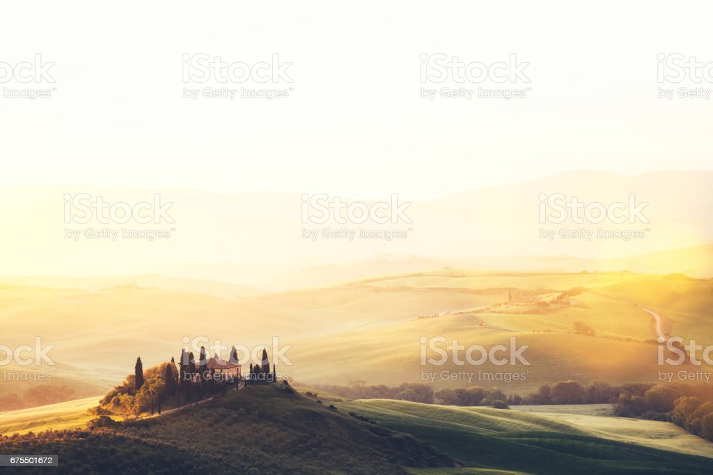 Tuscany Landscape At Sunrise stock photo