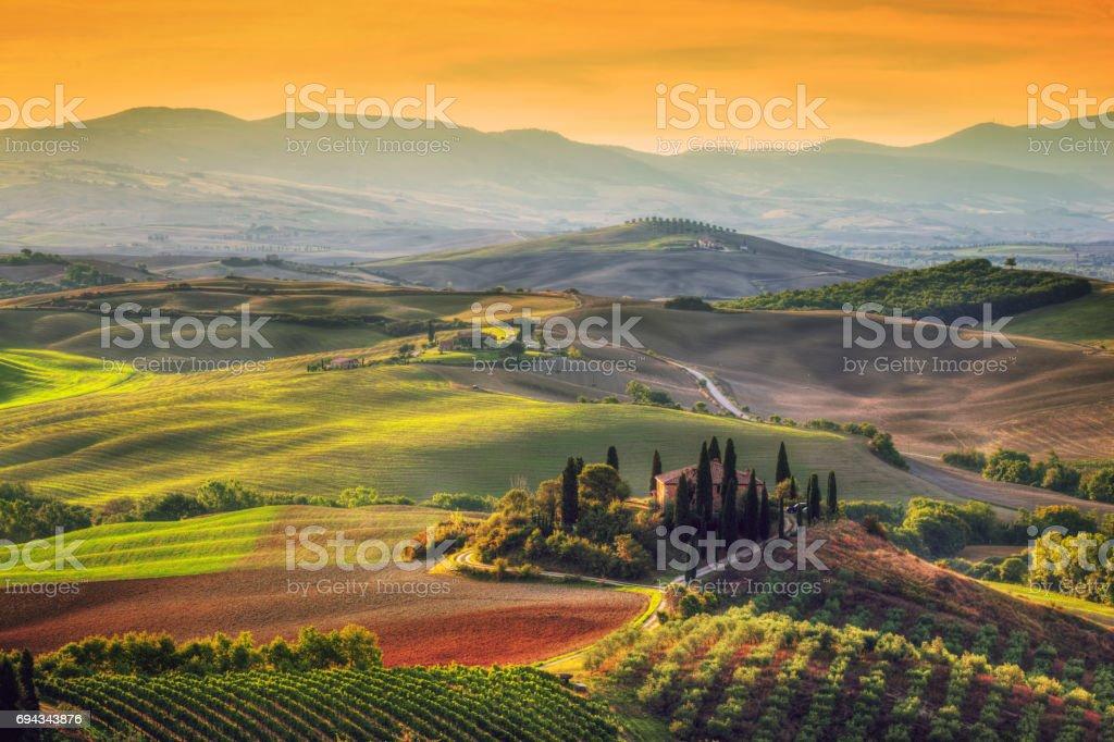 Tuscany landscape at sunrise. Tuscan farm house, vineyard, hills. - foto stock
