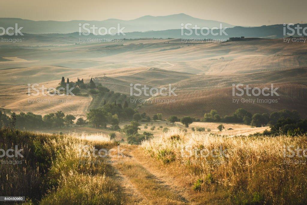Paysage en Toscane au coucher du soleil - Photo