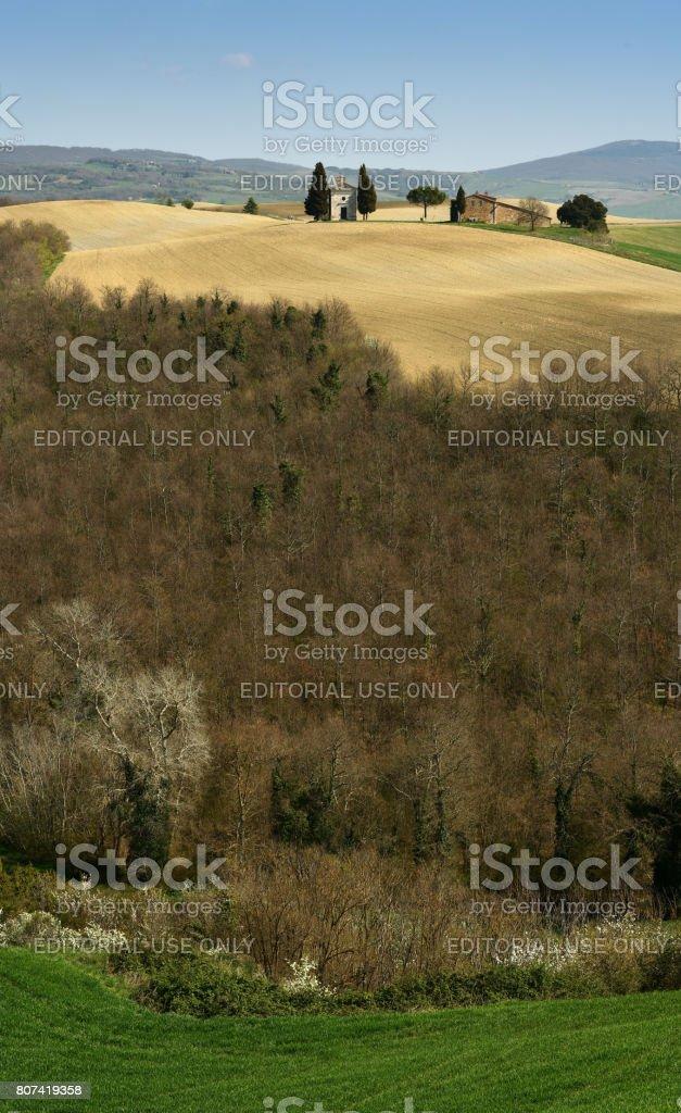 Tuscany landscape, little chapel of Madonna di Vitaleta, Pienza, Siena, Italy. stock photo
