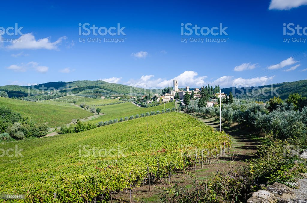 Tuscany landscape near Badia a Passignano royalty-free stock photo