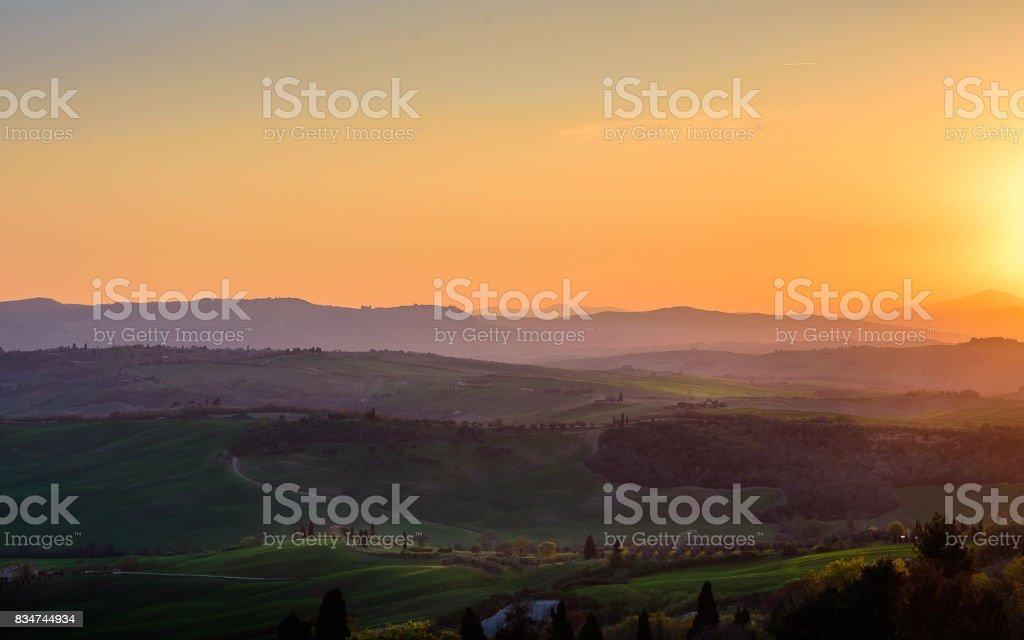 Tuscany landscape near Montepulciano, Siena stock photo