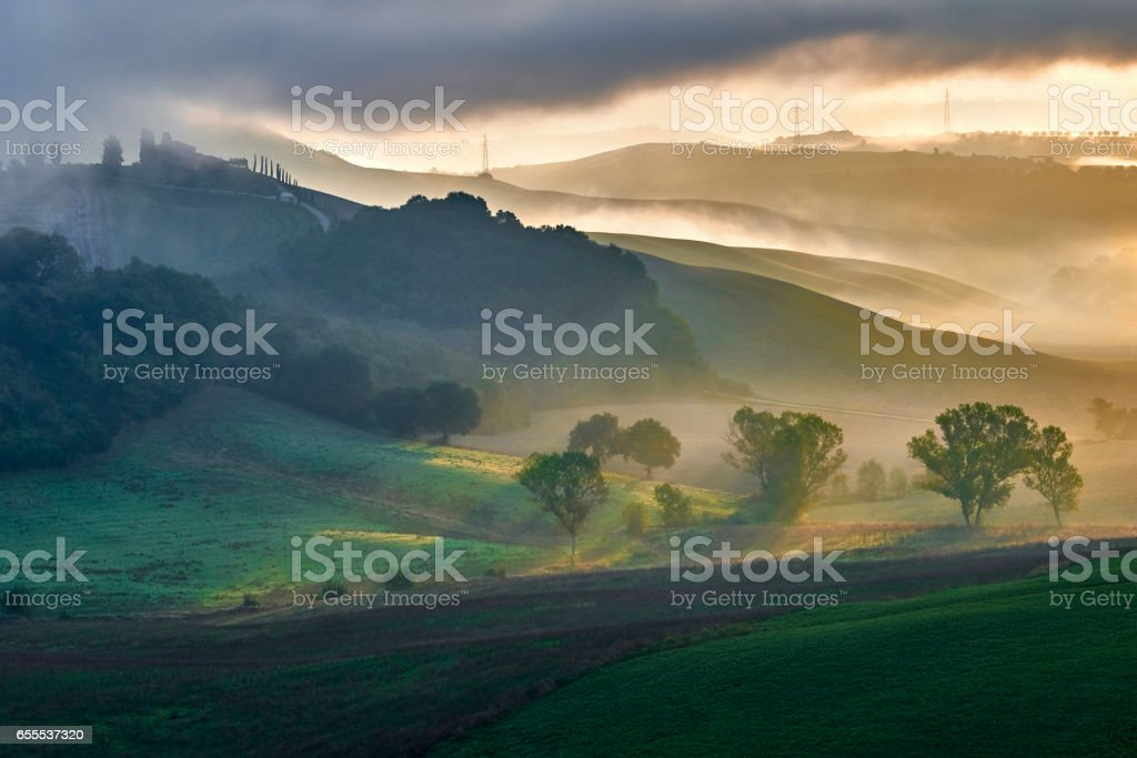Tuscany - Landscape panorama, hills and meadow stock photo