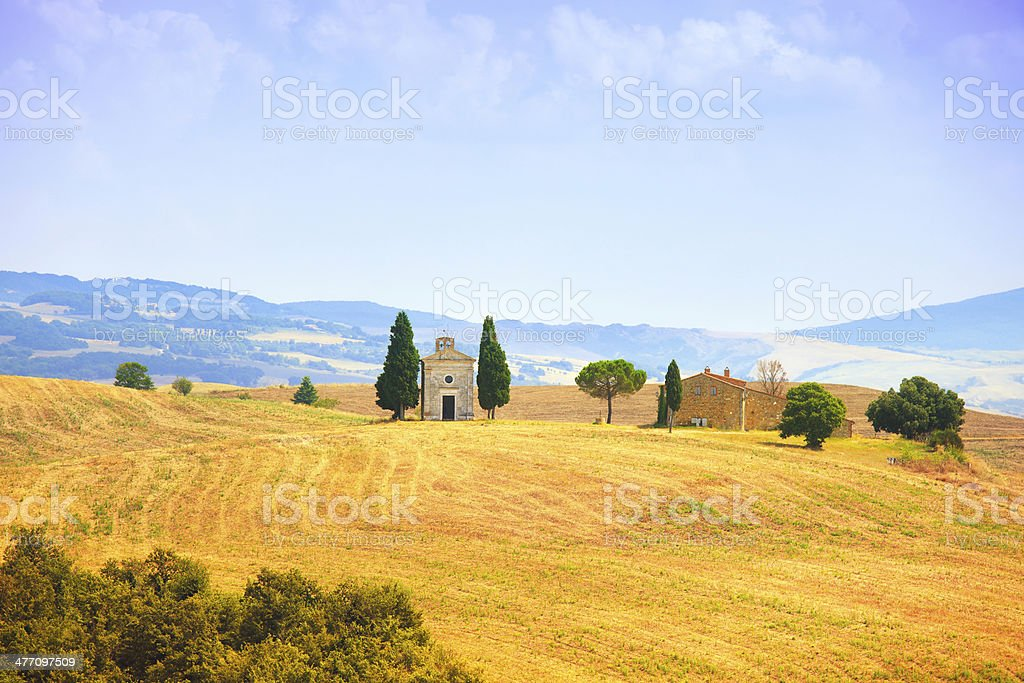 Tuscany landscape, Vitaleta chapel, little church Val d Orcia, Italy royalty-free stock photo