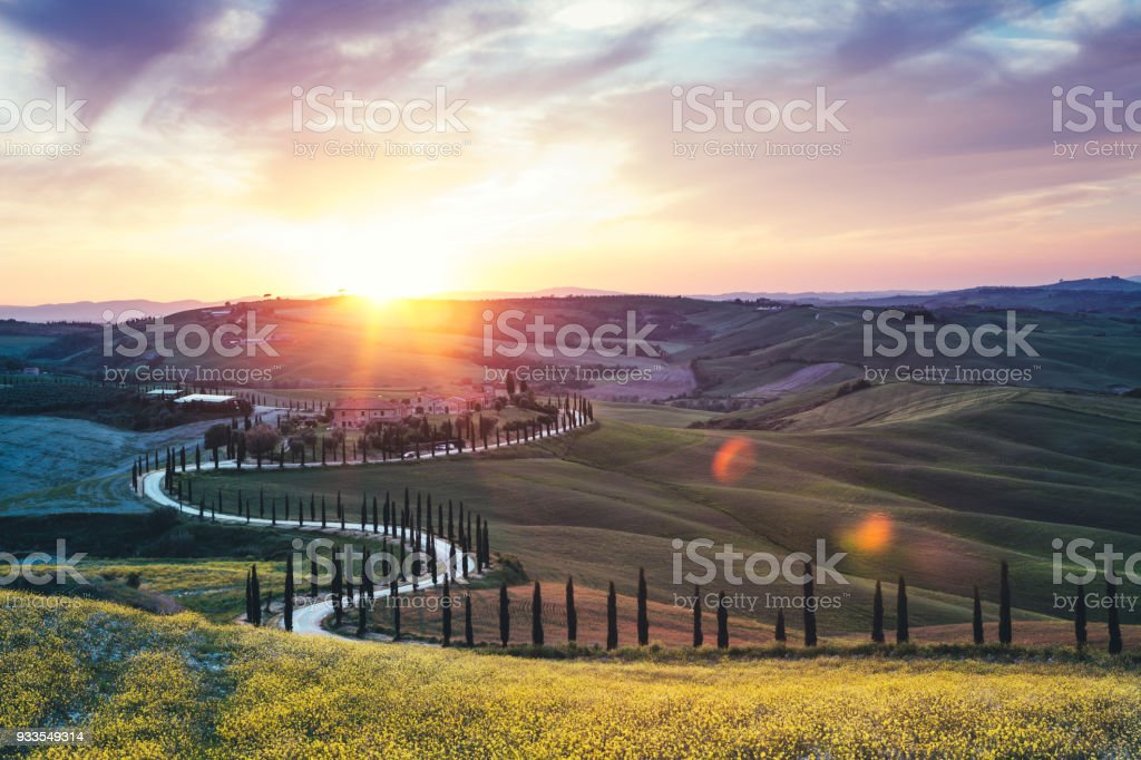 Tuscany Landscape With Winding Road stock photo