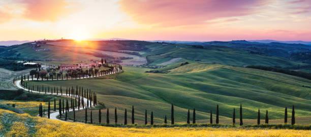 Tuscany Landscape With Winding Road stock photo