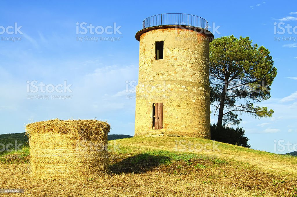 Tuscany, Maremma sunset landscape. Rural tower and tree on hill. stock photo