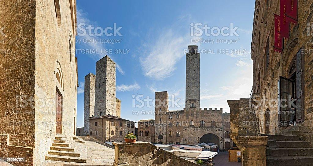 Tuscany market day in San Gimignano Italy stock photo