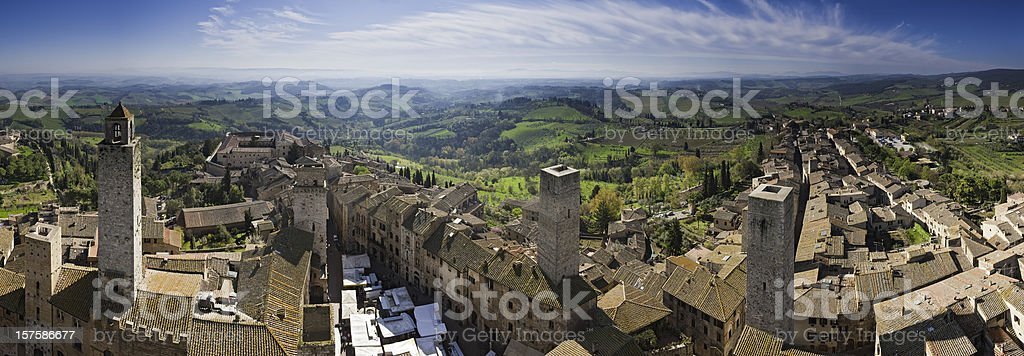 Tuscany market day in San Gimignano towers rooftops panorama Italy royalty-free stock photo