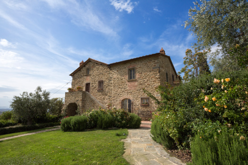 Tuscany, next to Florence: typical farmhouse and its garden