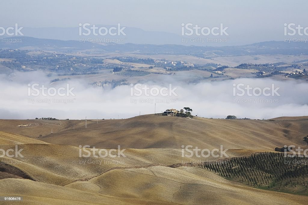 Tuscany Orcia Valley Foggy Time royalty-free stock photo